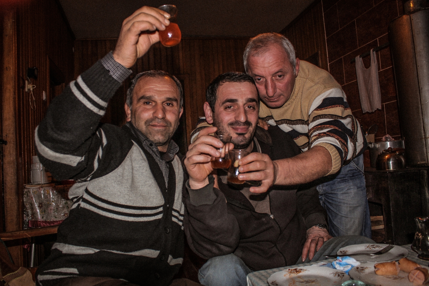 Drinks with the men of the village, Makho, Republic of Georgia